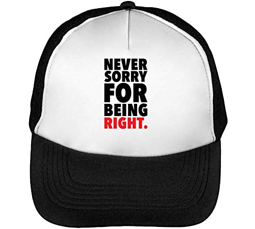 Never Sorry Being Right Gorras Hombre Snapback Beisbol Negro Blanco