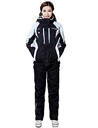 Tortor 1Bacha Women Lady Windproof Waterproof Hooded Ski Jacket Snow Pant Set