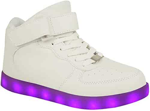 bf35a6e4275d Fashion Thirsty Kids Girls Sneakers Flashing LED Luminous Lights USB  Charger Lace Up Size Trainers Size