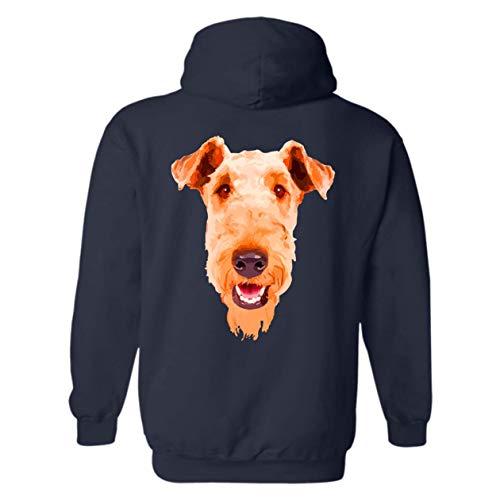 Hoodie Terrier Mens Airedale (Six Crab Airedale Terrier Face Hoodie, Long Sleeve Sweatshirt (XL,Navy))