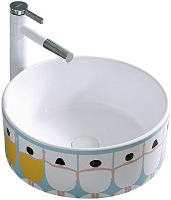 カウンター盆地バスルームホームアート盆地洗面セラミックキッチンのシンクの上北欧の超薄型ラウンド P3/23 (Size : 46x46x15cm)