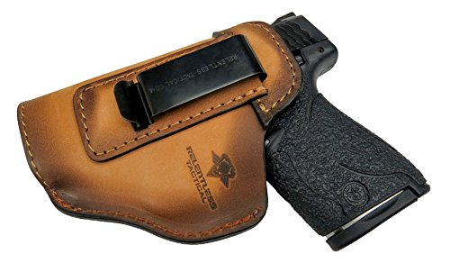 Relentless Tactical The Defender Leather IWB Holster - Made in USA - for S&W M&P Shield - Glock 17 19 22 23 32 33 / Springfield XD & XDS/Plus All Similar Sized Handguns - Charred Oak - Left Handed