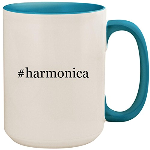 #harmonica - 15oz Ceramic Colored Inside and Handle Coffee Mug Cup, Light Blue (Hohner Piedmont Blues 7 Harmonica Pack With Case)