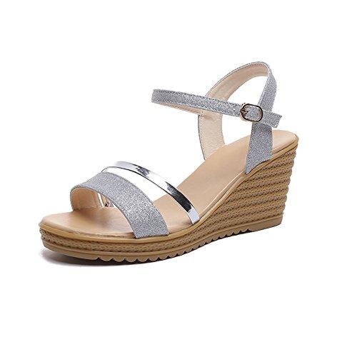 Donyyyy Tabla impermeable, zapatos de mujer, sandalias, fondo plano y pendiente inferior grueso de estudiantes expuestos toe plataforma impermeable. Thirty-eight