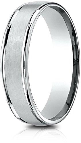 Benchmark 14k White Gold 5mm Comfort-Fit Satin Finish, Polished Round Edge Carved Design Band (Sz 10.75) ()