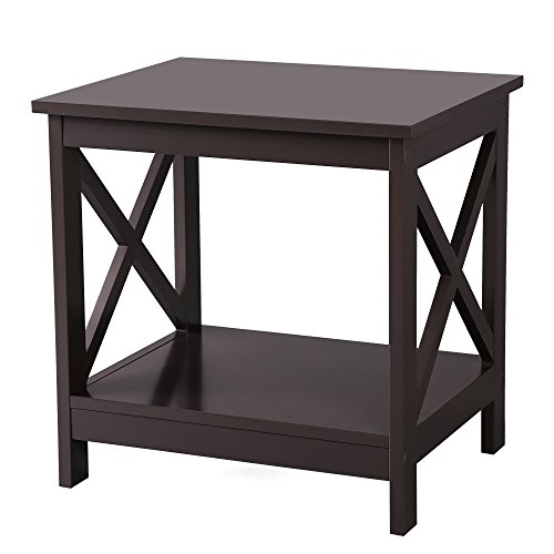 2 Tables Side By Side - SONGMICS X-Design Sofa End Table, Wooden Side Table with 2 Display Shelves, Espresso, ULET01BR