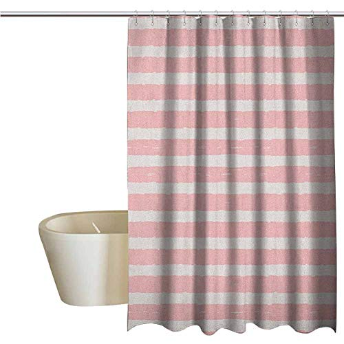 Genhequnan Kids Shower Window Curtain Waterproof Paint Brushstrokes in Horizontal Direction Pastel Color Pattern for Girls Kids Bathroom Shower Curtain W78 x L70 Inch Blush Baby Pink (Pottery Barn Colors Bathroom Paint)