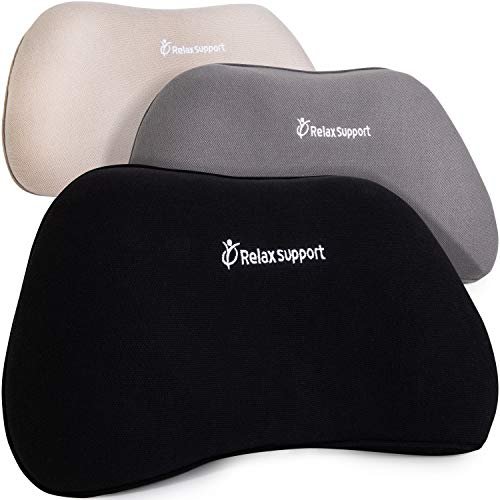 Rs1 Back Support Pillow By Relaxsupport Lumbar Pillow Upper And Lower Back For Chair Back Pain Uses Arccontour Special Patented Technology Has Unique Lateral Convex Shape For A Pain Free Back