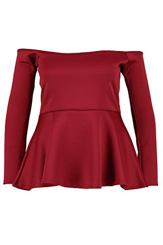 Boohoo Womens Plus Size Allie Off The Shoulder Peplum Top In Wine Size - Boohoo 20 Off