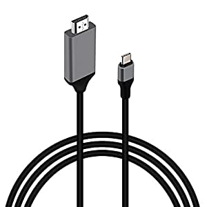 USB C to HDMI Cable(4K@30Hz/6.6ft/2.0m) MOREFINE USB 3.1 Type C Male (Thunderbolt 3) to HDMI Male 4K Adapter Cable for MacBook Pro iMac ChromeBook Pixel Galaxy S8/S8 Plus LG G5/G6 Surface Book 2 Gift