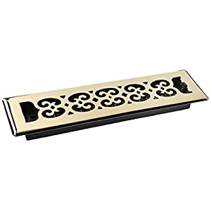 Decor Grates SPH212 2-Inch by 12-Inch Scroll Floor Register, Polished Brass Finish
