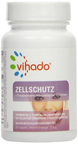 Vihado Zellschutz, Traubenkernextrakt OPC + Granatapfel + Grüntee + Vitamine A-C-E-B2 + Selen + Kupfer + Mangan, 60 Kapseln, 1er Pack (1 x 23,6 g)