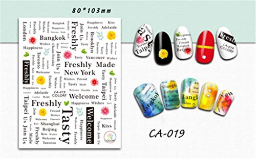 Colorful Sticker Nail Art 3D Letter Feather Designs Self Adhesive Decals Nail Sticker Nail Decor Manicure CHCA009-020 CA019 ()