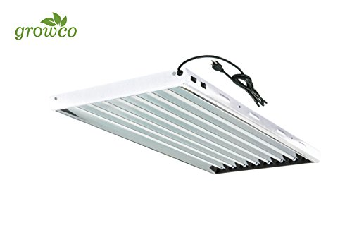 Grow Co. T5 4 ft 8 Lamp Fluorescent Fixture 6500K HO Bulbs Included for Hydroponic Indoor Gardening by Grow Co.