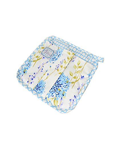 """Provence 100% Cotton Potholder with Fridge Magnet Holder, 8"""" by 8"""", for Cooking, Baking, Blue Meadow Flowers"""