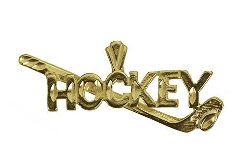 (Prince of Diamonds Hockey Stick Puck Pendant Player Charm 24K Yellow Gold Plated Jewelry New Sports)