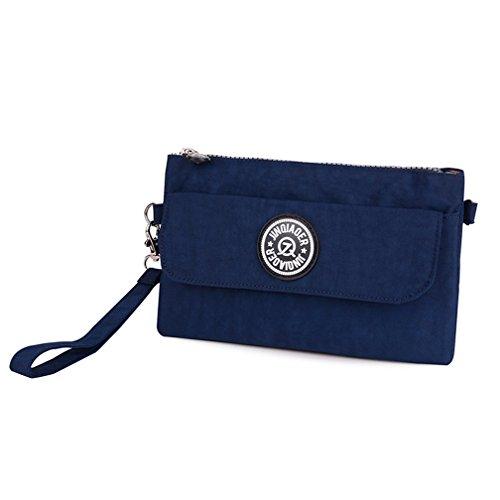 tianhengyi Mujer Multiusos Wristlet Bolso Monedero Teléfono Bolso De Embrague Con Correa Para El Hombro Azul marino