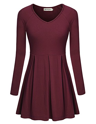 (Nandashe Women Tunics, Comfy Sweetheart Neck Long Sleeve A-line Sexy Tops Wine M)