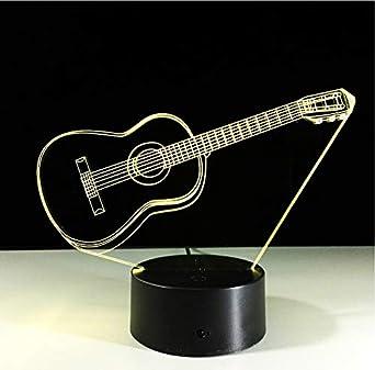 zwylove Música Guitarra Bajo 3D Lámpara LED Luz nocturna para ...