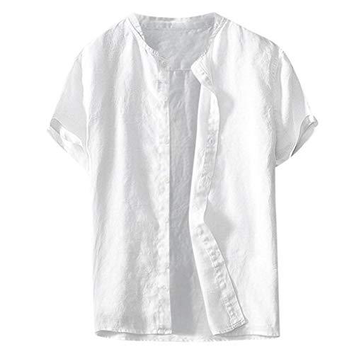 JJLIKER Mens Cotton Linen Stand Collar Short Sleeve Shirts Casual Henley Button-Down Tee Tops Lightweight Blouse