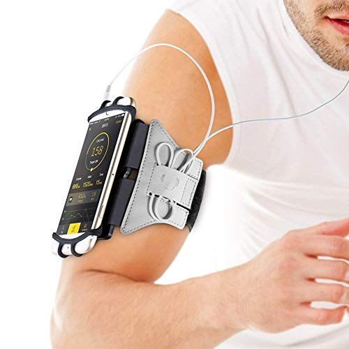 Phone Armband, APzek Running Armband 180° Rotatable Workout Armband for iPhone XS/X/8/8 Plus/7/7 Plus/6/6S, Galaxy S9/S9 Plus/S8/S7, Sports Armband for Hiking Jogging (Silver) ()