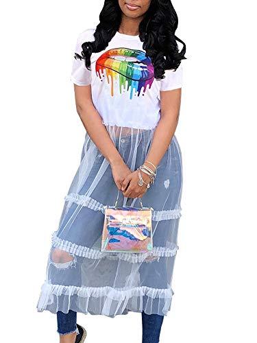 Womens Lip Print T-shirt See Through Patchwork Mesh Long Shirt Dress White S ()