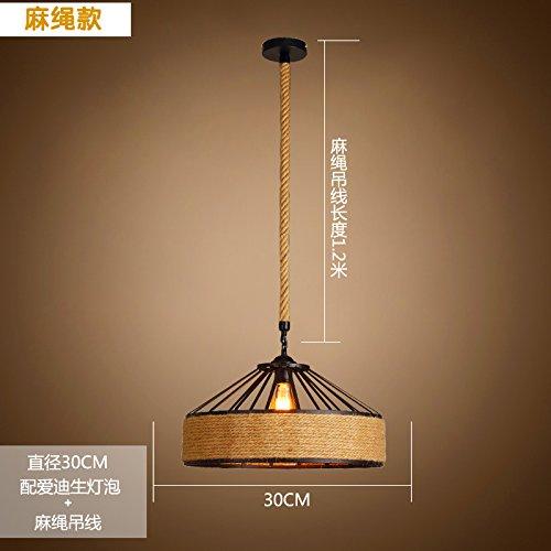 Kang @ artistique Créativité éclairage lustre 30 cm lit pour enfants style rétro avec tungstène fil et sisal Suspension Fil