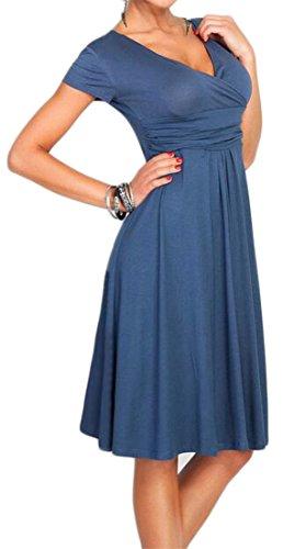 Womens Nightwear Abito Del Alta Plissettato Solido Vita Collo Cruiize Avvolgente Blu V wfqw6g