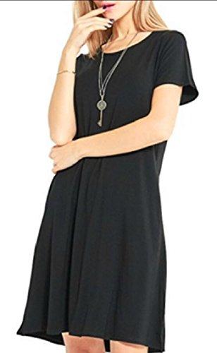 Shirt Loose Sleeve Multicolor Casual Jaycargogo Dress Black Short T Women's Fv0Xwxwf