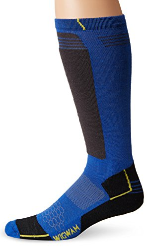 Wigwam Men's Snow Hellion Pro Ultimax Knee High Merino Wool Performance Ski Sock, Azure Blue, Large