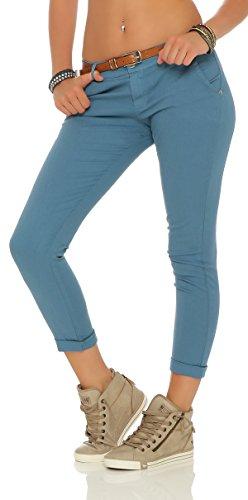 ZARMEXX estiran los pantalones flacos con la correa Chino-pantalones flacos de Jeggings de muchos colores azul jeans