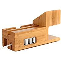 Amir Bamboo Wood USB Charging Station, Desk Stand Charger, 3 USB Ports, for iPhone 7/6s/6/5s & 38mm/42mm Apple...
