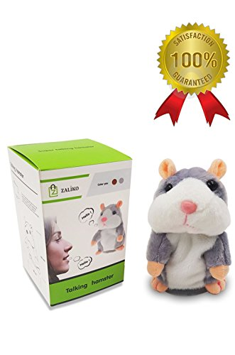 zaliko Talking Hamster, Hamster Pet Doll, Hilarious Pet Talking Hamster Mouse with Recording &Talkback Feature for up to 15 Seconds and 10 Phrases max. For Girl/ Boy (Gray) (Gray)