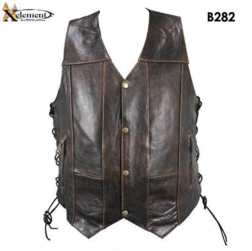 - Xelement B282 Men's Distressed Brown Retro 10 Pocket Buffalo Leather Motorcycle Vest - 3X-Large