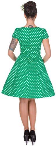 Kurzen Retro Polka Dots Dark Dolly Green Grün and Dotty Tupfenkleid H mit Ärmeln CtEwxT0qx