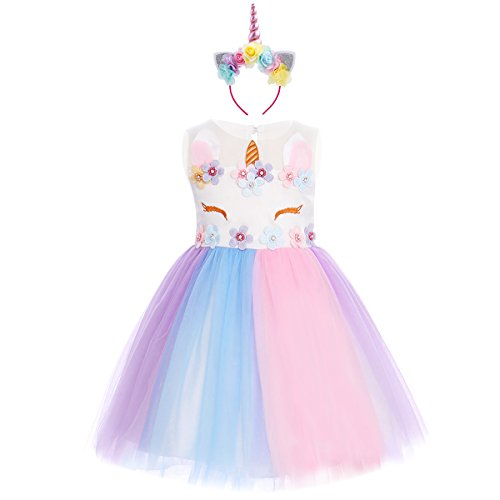 (Baby Kids Girls Flower Tulle Birthday Unicorn Fancy Costume Cosplay Princess Pageant Tutu Dress up Headband Party Outfits Evening Gown Rainbow Dress + Headband #a 5-6)