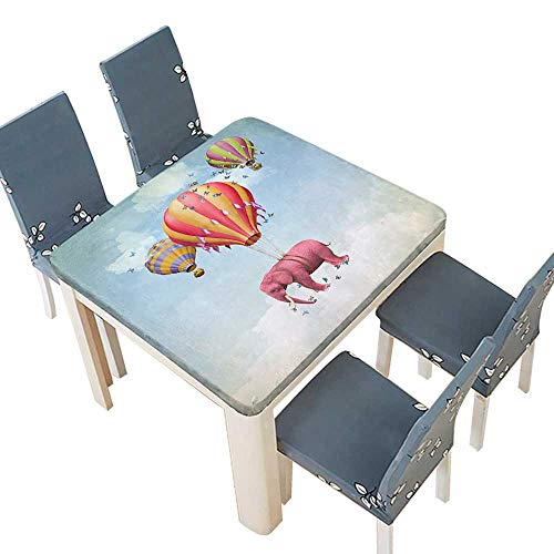 PINAFORE Polyesters Tablecloth Pink Elephant in The Sky Balloons Illustration Daydream Fairytale Travel Wedding Birthday Baby Shower Party 29.5 x 29.5 INCH (Elastic Edge) ()