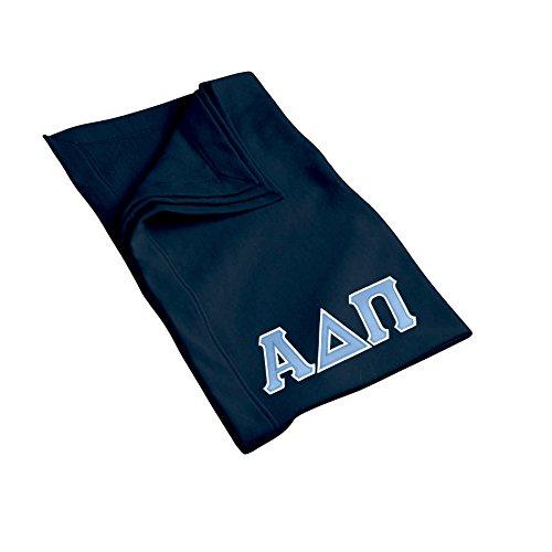 Alpha Delta Pi Sweatshirt Blanket with Twill Greek Letters (Navy Blue)