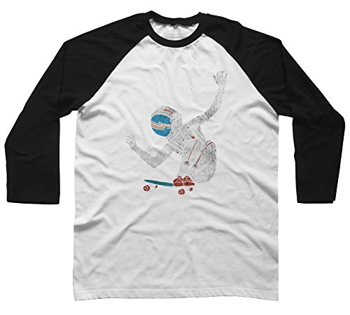 Design By Humans Space Board Men's Small White/Black Raglan Sleeve Baseball Tee