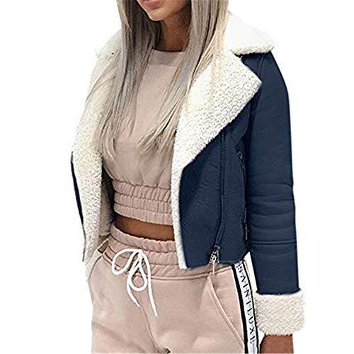 Aniywn Women's Winter Short Jacket Lapel Zipper Long Sleeve Faux Lamb Wool Motorcycle Outwear Cardigan Coat(Navy,M)