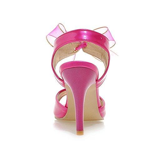 Sandales d'orteil Talons Talon Hauts PU à Femme Unie à Cramoisi Couleur Haut Ouverture AgooLar Cuir Lacet OwtaXqxOnP