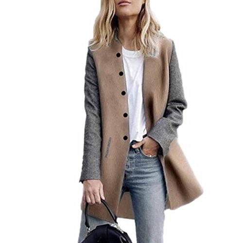 Vanvler Women Coat Ladies Long Cashmere Cardigan Jumper Knitwear Splice Casual Jacket (L, Gray)