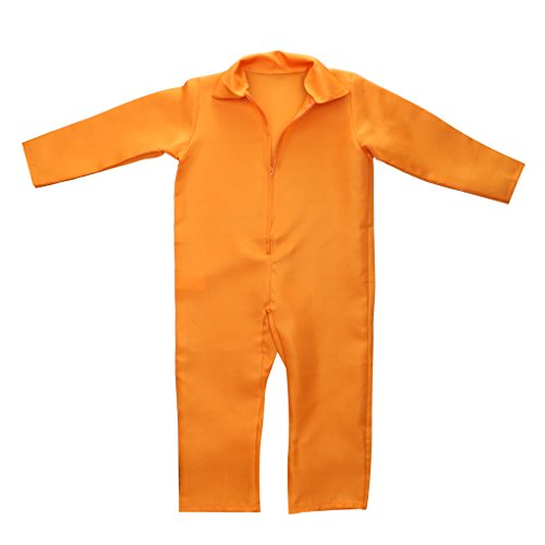 Jili Online Kids Orange Prisoner Overall Jumpsuit Convict Stag Do Party Fancy Dress Costume -