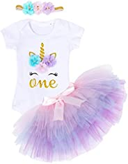MetCuento Baby Girl Birthday Outfits Letter Onesies Tops Tutu Skirt with Headband Clothes Set