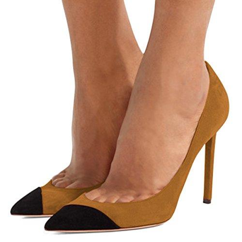 Fsj Donne Sexy Stiletto Scarpe Col Tacco Alto Scarpe A Punta In Finta Pelle Scamosciata Scarpe Da Sera Festa Di Fine Taglia 4-15 Us Marrone