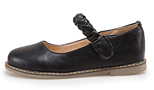 Easemax Dames Comfortabele Ronde Neus Lage Top Platte Schoenen Zwart