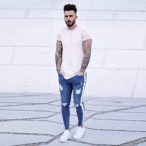 Cargo Con Cerniera Ragazzi Stretch Jogging Jeans Destroyed Casual Frayed Fit Denim Outdoor Uomo Slim Pantaloni Bianca Giovane zAqPCC