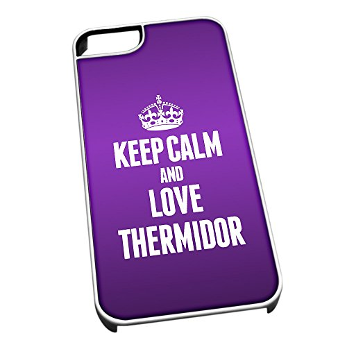 Bianco cover per iPhone 5/5S 1611 viola Keep Calm and Love Thermidor