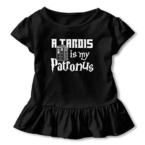 Kim Mittelstaedt a Tardis is My Patronus Children's Short Sleeve T-Shirt Girl's Cute Soft Cotton Dress Black 2T -
