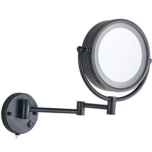 (Cavoli Wall Mounted Makeup Mirror with LED Lighted 7x Magnification, Wall Mounted Magnifying Mirror Oil Bronze Finish (8.5-inch,7x))